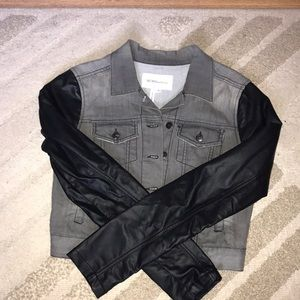GRAY DEMIN AND LEATHER JACKET 